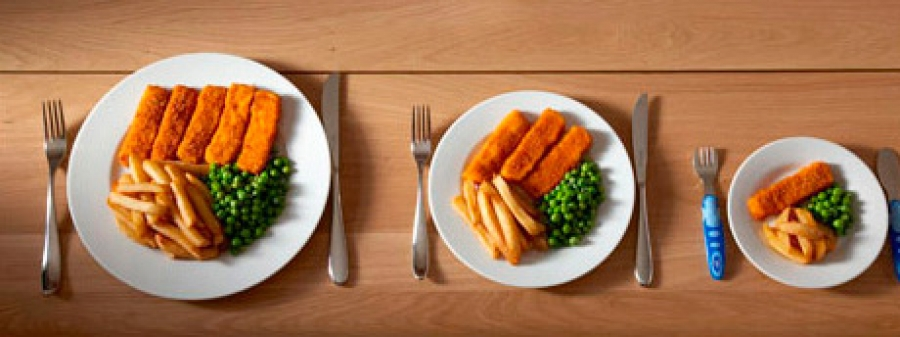 Larger-sized portions and packages lead to higher consumption of food and drink